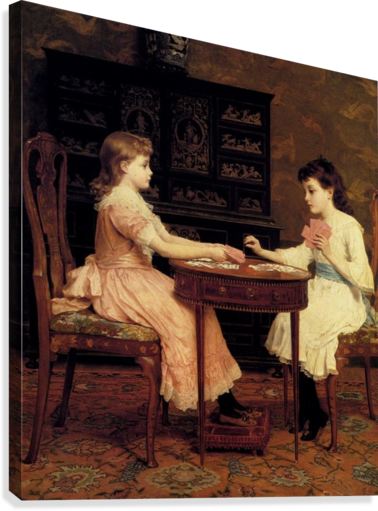 Two girls playing cards  Canvas Print