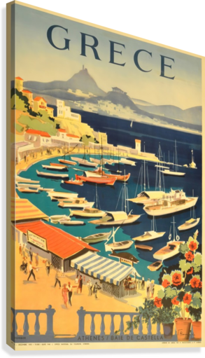 Greece original vintage travel poster  Canvas Print