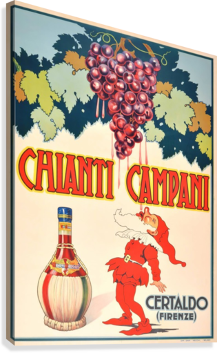 Original Vintage 1940 Advertising Poster For Chianti Campani  Canvas Print