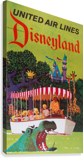 United Air Lines the official airline to Disneyland poster  Canvas Print