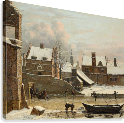 View of a City in Winter with Ice Skaters  Canvas Print