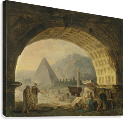 View of antiquities under an arch  Canvas Print