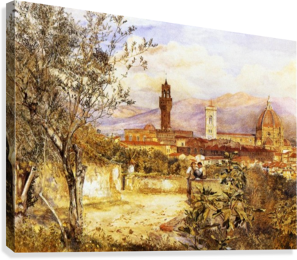 View of the Duomo fro the Mozzi Garden Florence 1877  Canvas Print