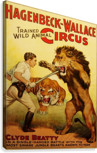 Vintage Circus Poster, Lion Tamer Poster  Canvas Print