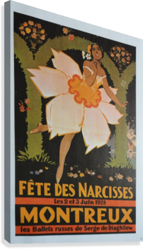 Vintage Dance Poster Fete Des Narcisses  Canvas Print
