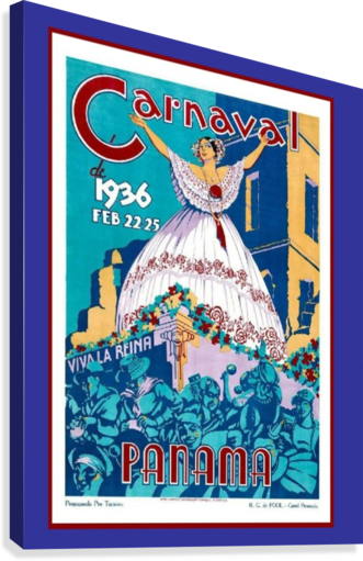 Vintage travel poster for Panama Carnival 1936  Canvas Print