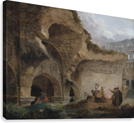 Washerwomen in the Ruins of the Colosseum  Canvas Print
