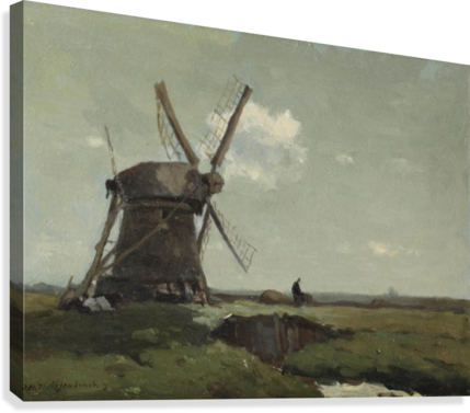 Windmill in a polder landscape, near Noorden  Canvas Print