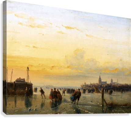Winter Landscape with Skaters on a Frozen River  Canvas Print