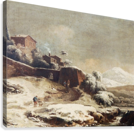 Winter landscape with village and mountains beyond  Canvas Print