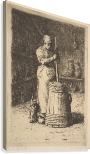 Woman churning butter  Canvas Print