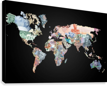 World map currencies worldflag canvas world map currencies canvas print gumiabroncs Choice Image