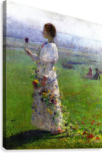 Young Woman Walking by the Field  Canvas Print