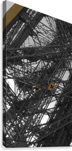 Eiffel tower Paris gold on black and white   Canvas Print