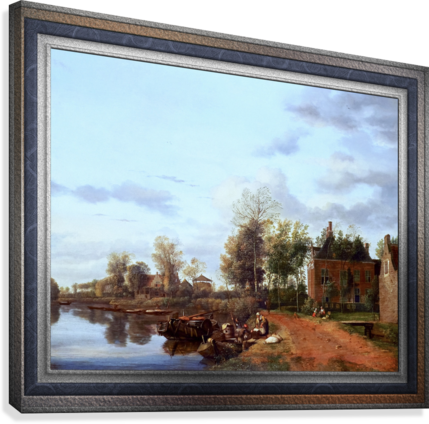 A Country House on the Vliet near Delft by Jan van der Heyden Classical Fine Art Xzendor7 Old Masters Reproductions  Canvas Print