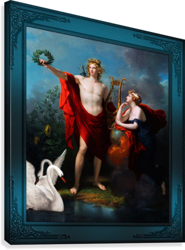 Apollo God of Light with Urania Muse of Astronomy by Charles Meynier Classical Fine Art Xzendor7 Old Masters Reproductions  Canvas Print