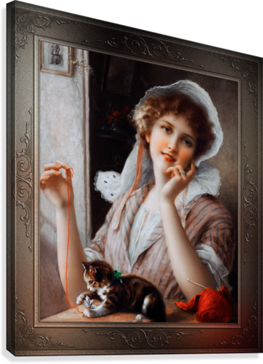 At Play byEmile Vernon Vintage Fine Art Xzendor7 Old Masters Reproductions  Canvas Print