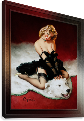 Bear Facts c1959 by Gil Elvgren Vintage Pinup Illustration Xzendor7 Old Masters Reproductions  Canvas Print