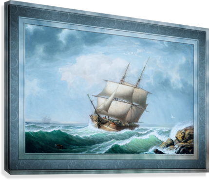 Brig Off the Maine Coast by Fitz Hugh Lane Classical Marine Fine Art Xzendor7 Old Masters Reproductions  Canvas Print