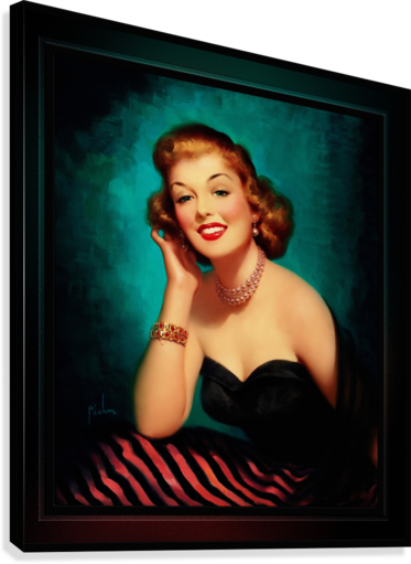 Evening Glamour Girl by Art Frahm Glamour Pin-up Vintage Art  Canvas Print