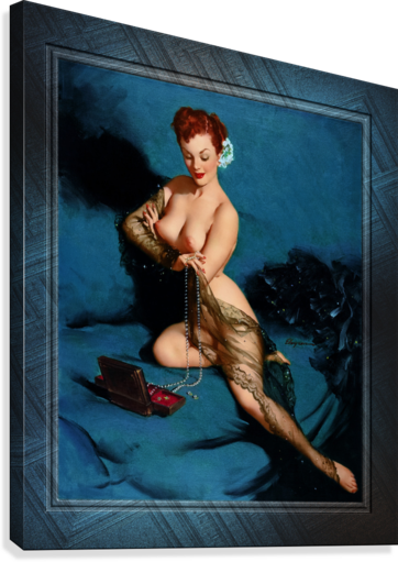 Fascination by American Painter Gil Elvgren Vintage Illustrations Xzendor7 Old Masters Reproductions  Canvas Print