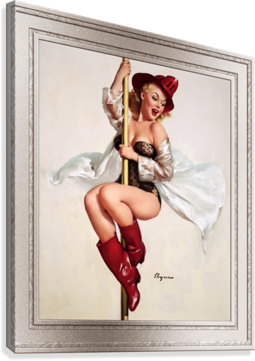 Fire Belle Is Always Ready by Gil Elvgren Vintage Pinup Illustration Xzendor7 Old Masters Reproductions  Canvas Print