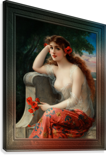 Girl with a Poppy byEmile Vernon Wall Decor Xzendor7 Old Masters Art Reproductions  Canvas Print
