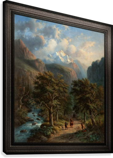 Landscape In The High Mountains by Alexander Joseph Daiwaille Classical Fine Art Xzendor7 Old Masters Reproductions  Canvas Print