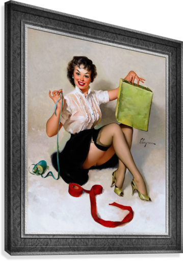 Neat Package by Gil Elvgren Vintage Pinup Illustration Xzendor7 Old Masters Reproductions  Canvas Print