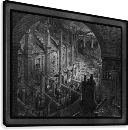 Over London by Rail by Gustave Dore Classical Fine Art Xzendor7 Old Masters Reproductions  Canvas Print
