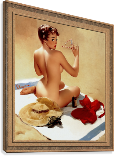 Shell Game c1959 by Gil Elvgren Vintage Pinup Illustration Xzendor7 Old Masters Reproductions  Canvas Print