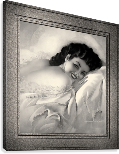 Sweet Dreams by Rolf Armstrong Vintage Illustration Xzendor7 Art Reproductions BW  Canvas Print