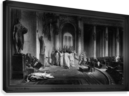 The Death Of Julius Caesar In The Roman Senate Engraving by James Charles Armytage Classical Fine Art Xzendor7 Old Masters Reproductions  Canvas Print