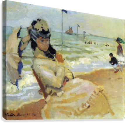 Camille on the beach at Trouville by Monet  Canvas Print