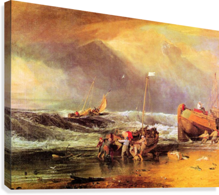 Coastal scene with fishermen by Joseph Mallord Turner  Canvas Print