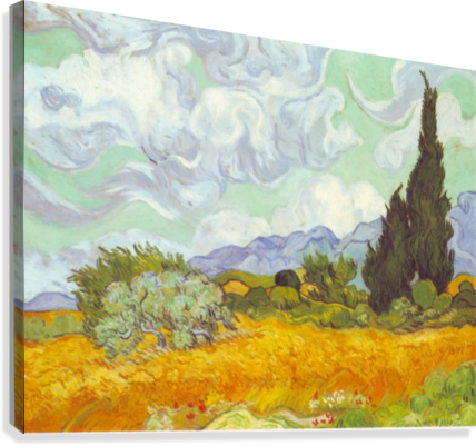 Cornfield with Cyprusses by Van Gogh  Canvas Print