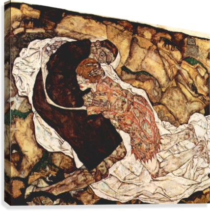 Death and the Woman by Schiele  Canvas Print