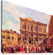 Festival in San Rocco by Canaletto  Canvas Print