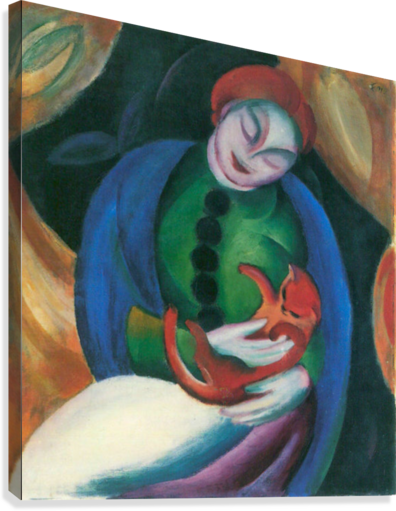 Girl with a Cat II by Franz Marc  Canvas Print