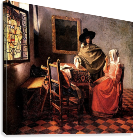 Glass of wine by Vermeer  Canvas Print