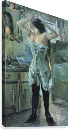 In a corset by Lovis Corinth  Canvas Print