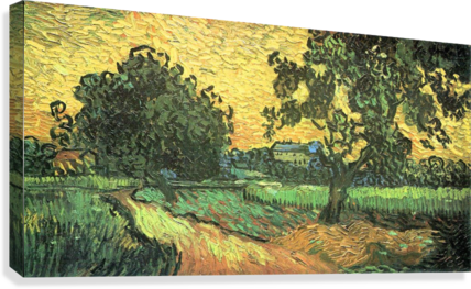 Landscape with Castle Auvers at Sunset by Van Gogh  Canvas Print