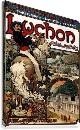 LUCHON BY ALPHONSE MUCHA VINTAGE POSTER  Canvas Print