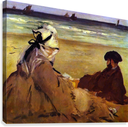 On the beach by Edouard Manet  Canvas Print