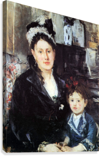 Portrait of Mme Boursier and Daughter by Morisot  Canvas Print