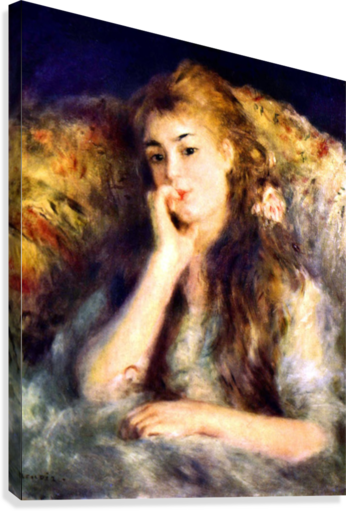 Portrait of a girl in thoughts by Renoir  Canvas Print
