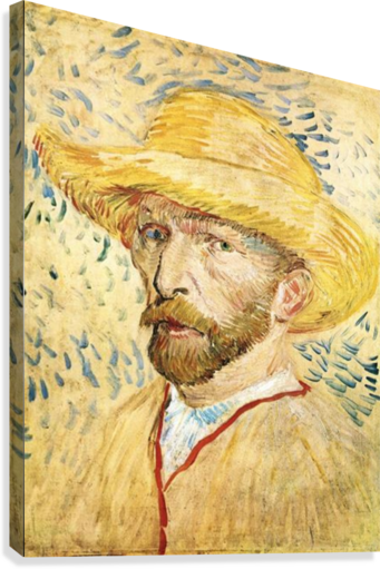 Self-Portait with straw hat by Van Gogh  Canvas Print