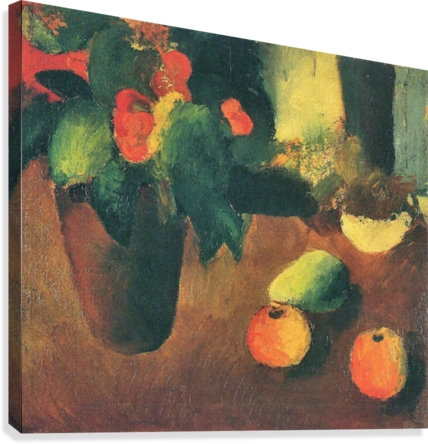 Still Life with begonia, apples and pear by August Macke  Canvas Print