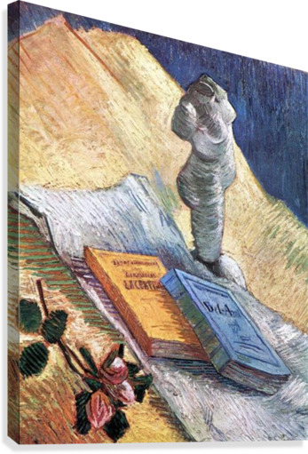 Still Life with torso, a rose and two novels by Van Gogh  Canvas Print