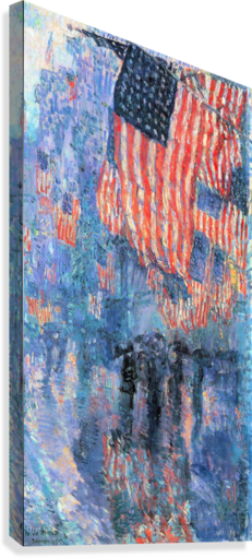Street in the rain by Hassam  Canvas Print